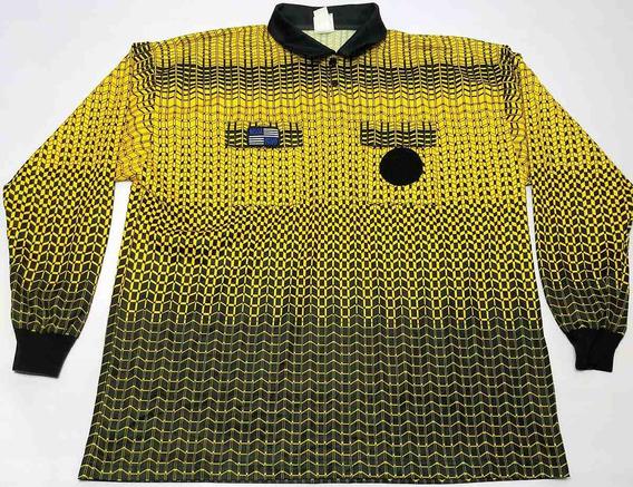 Camiseta Arbitro Mangas Largas Dorada Y Negra Talle Xxl