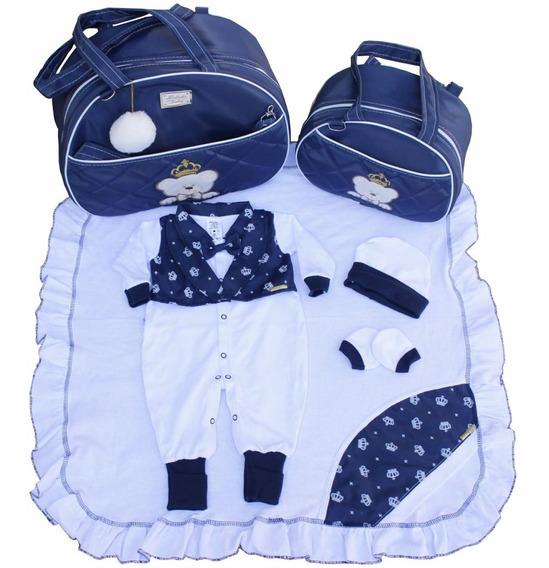 Kit Saída Maternidade Bolsas 2pcs Azul Marinho Branco Menino