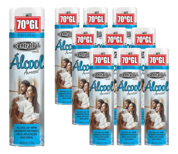 Kit 10 Alcool 70% Em Spray Aerossol Para Limpeza Geral 400ml
