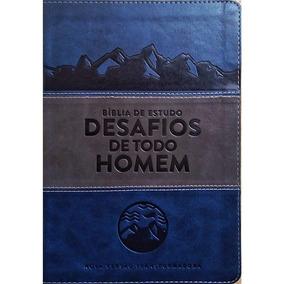 Bíblia De Estudo Desafios De Todo Homem - Nvt Azul