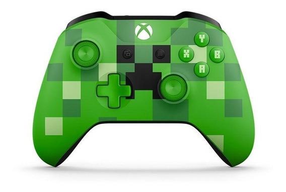 Controle Xbox One S Minecraft Creeper Sem Fio Microsoft Novo