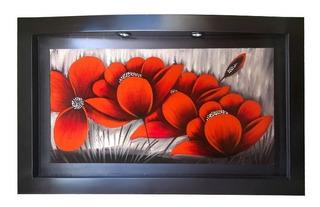 Flores Rojas - Cuadros Con Luz - Florales Y Abstractos.