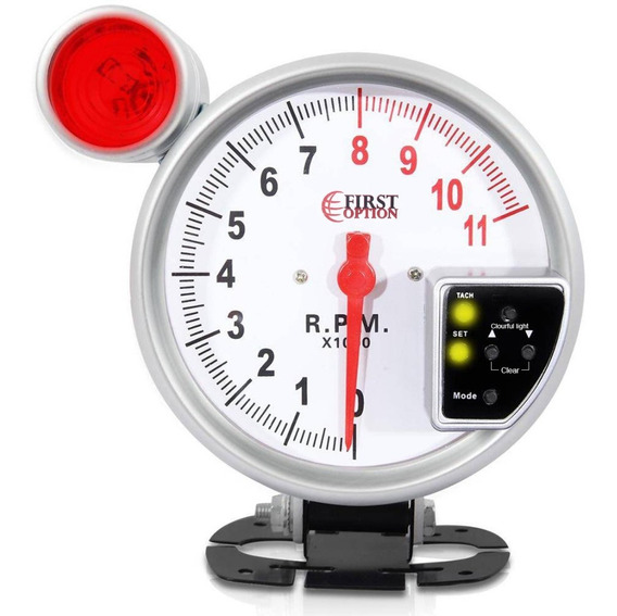 Conta Giro Automotivo Rpm Universal Led 7 Cores - Branco