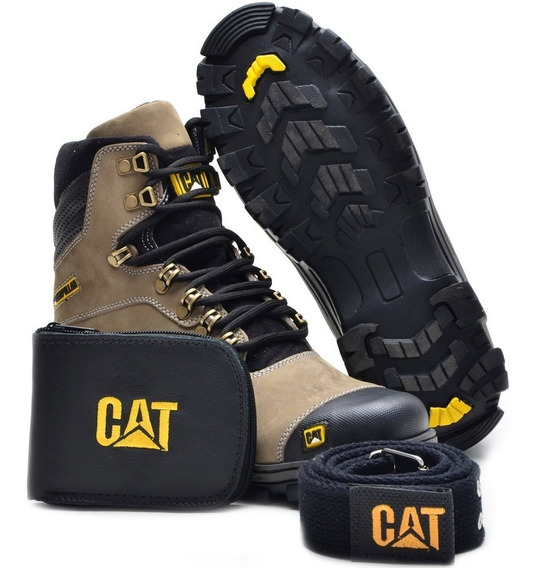 Bota Coturno Caterpillar + Cinto + Carteira + Chinela Cat!