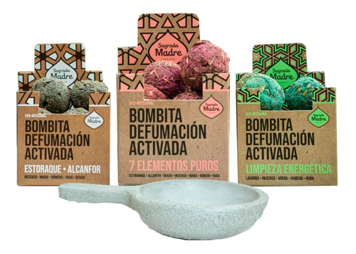 Kit Bombitas Sagrada Madre X 2 Cajas De 8 + Sahumador