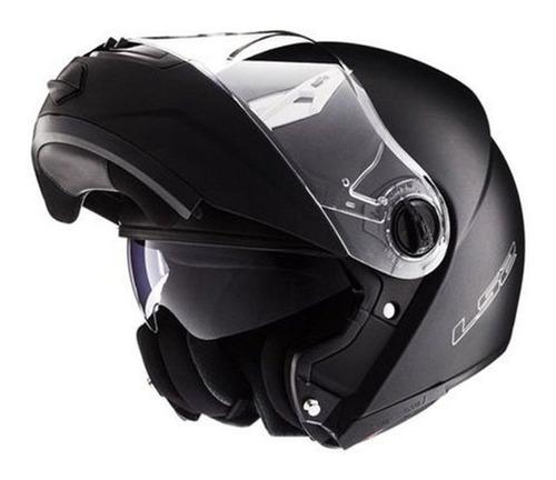 Imagen 1 de 5 de Casco Moto Rebatible Ls2 370 Brillo Doble Visor Solomototeam