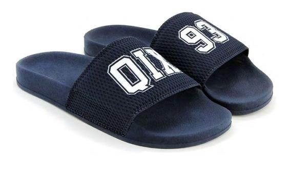 Chinelo Slide Azul Marinho/93 100% Original Qix Promoção