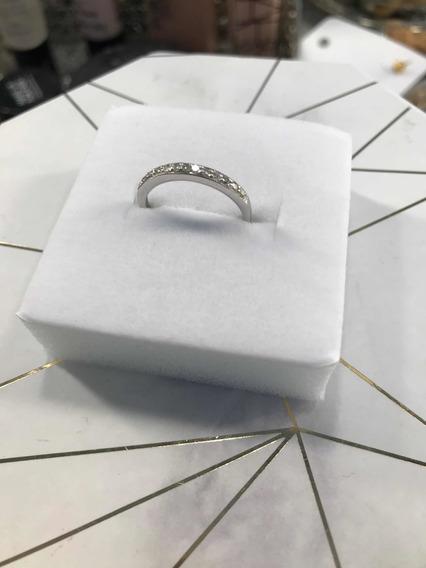 Anel Ouro Branco Com 9 Diamantes