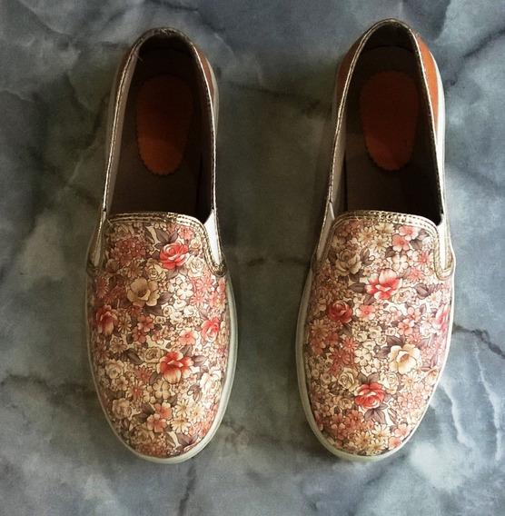 Zapatos Alpargatas Panchas Floreadas Naranjas - Poco Uso