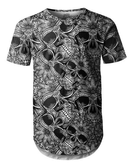 Camiseta Masculina Longline Swag Longline Caveiras