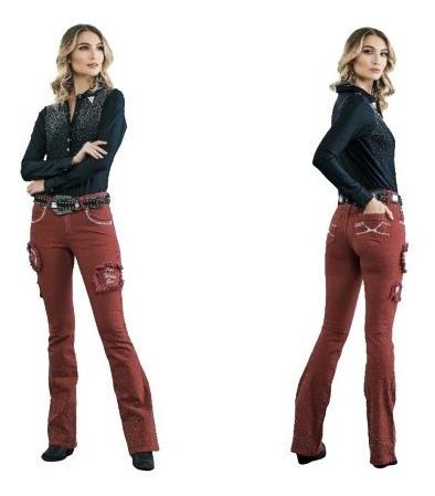 Calça Jeans Feminina Flare Boot Cut Bordo