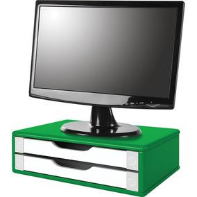 Suporte P/ Monitor Souza 2 Gavetas Mdf Verde E Branco 3353