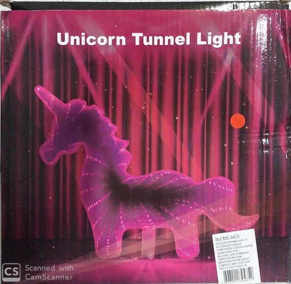 Luminária Mesa Led Unicórnio Efeito Espelhado Infinito 19cm
