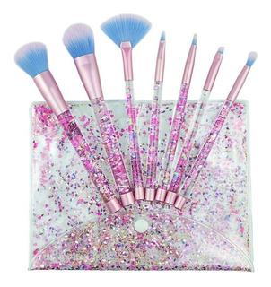 Set 7 Brochas Maquillaje Aquarium Glitter Con Estuche Bbequ
