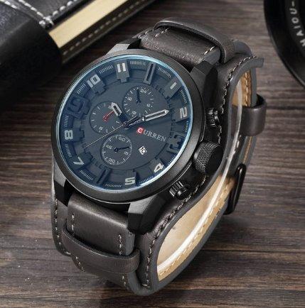 Relógio Curren 8225 Social Luxo Esportivo Top Couro Cinza