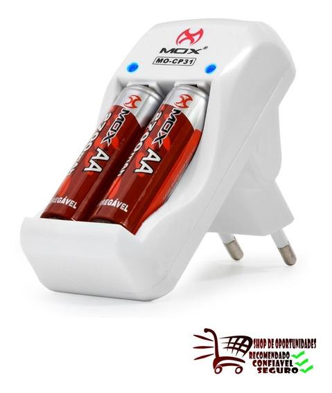 Carregador Bateria 9v Mox Cp31 + 2 Pilhas Aa 2600 Mah