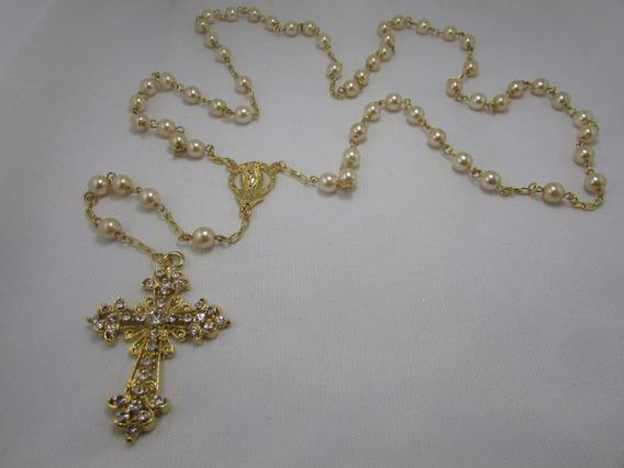 Terço De Noiva Perola Vidro Creme Crucifixo Dourado(mariano)