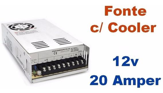 Fonte Chaveada 12v 20 Amperes Com Cooler - Bivolt