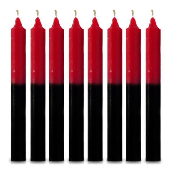 Vela Quilo Palito Preto E Vermelho 1 Kg 28 Velas Coloridas