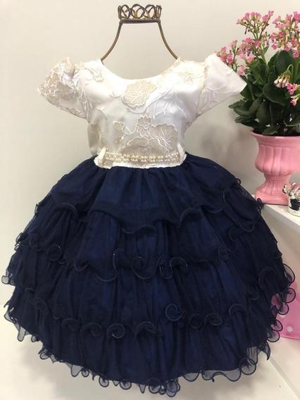 Vestido Infantil Azul/palha Luxo Casamento Cód 1472
