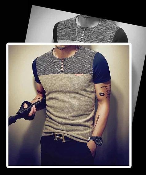 Camiseta Masculina Moda 2019 Botão