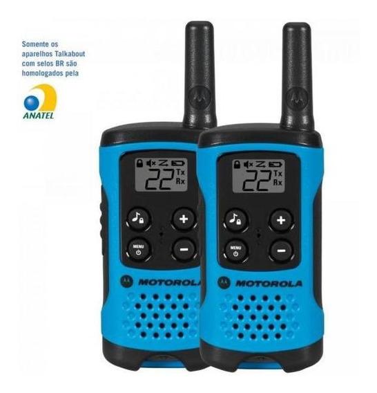 Rádio Comunicador Talkabout 25km T100br Azul Motorola Par/2