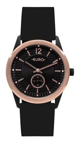 Relógio Euro Feminino Pulseira De Silicone Bicolor