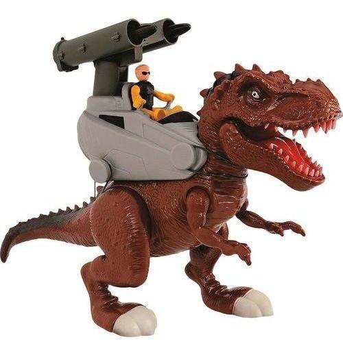 Dinossauro Adijomar Rex Attack Míssil Com Som Marrom 37cm