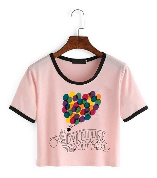 Remera Corta Up Pixar Disney Rosa Top Kpop Skate