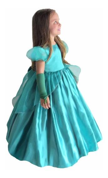 Vestido De Festa Princesa Ariel Verde Infantil Armado E Luva