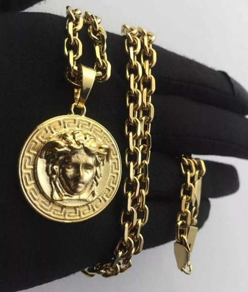 Cordão De Ouro 18k Medusa Kit De 3 Peças Banhados Lindos D +