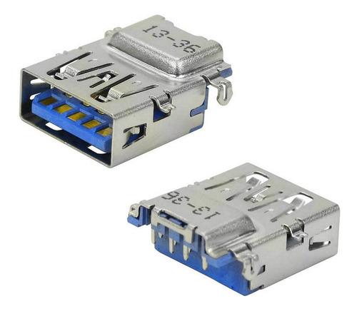 Imagem 1 de 1 de 3 Unids Conector Usb-3 A Fêmea 90º Azul Para Placa Perfurada