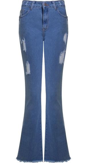 Calça Jeans Feminina Flare Destroyed Com Barra Desfiada Seik