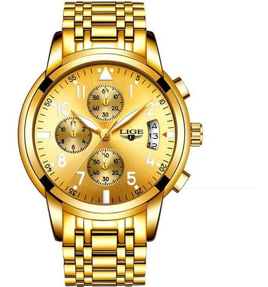 Relógio Masculino Lige Analógico Cronografo Original Luxo