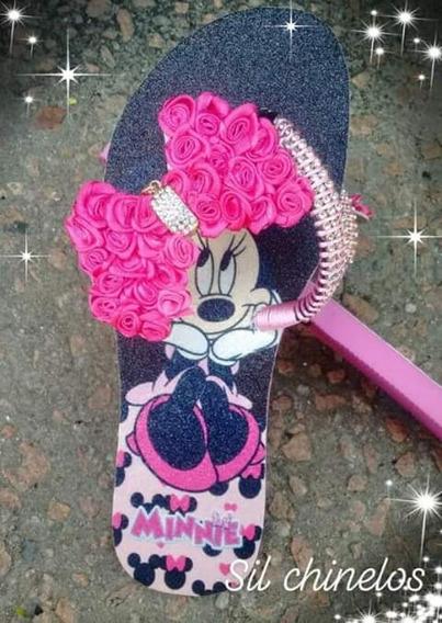 Chinelo Estampado Minnie Com Laço Rosa