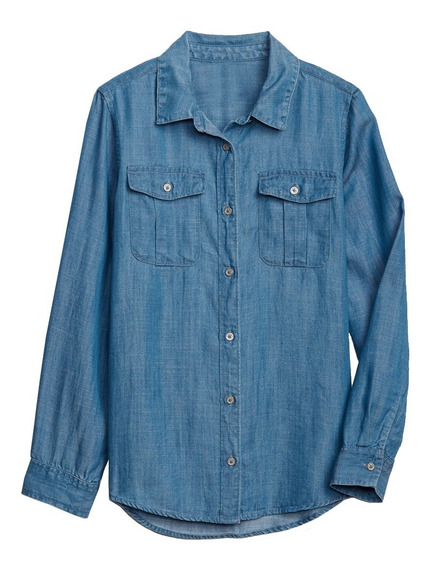 Camisa Niña Casual Mezclilla Denim Manga Larga 440343 Gap