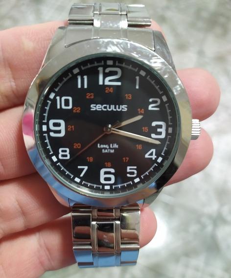 Relógio Seculus Original (caixa De Aço + Acessórios)