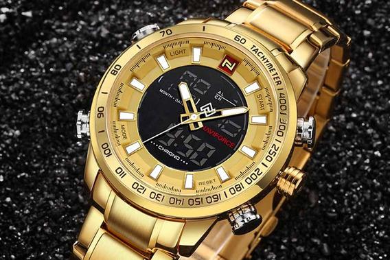 Relógio Esportivo Naviforce Nf9093 - Dourado