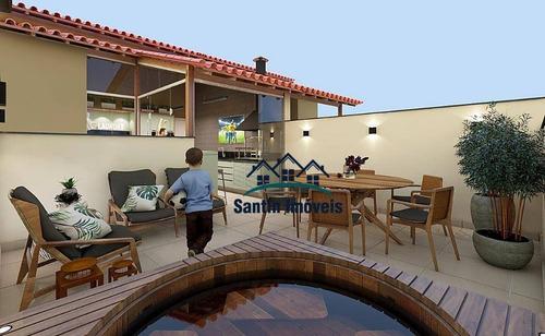 Cobertura Com 2 Dormitórios,fino Acabamento,50% Coberta,vaga De Garagem  À Venda, 90 M²  - Santa Maria - Santo André/sp - Co0451