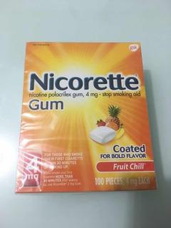 Nicorette Gum 100 Chicle Nicotina 4mg Sabor Frutas Fumar