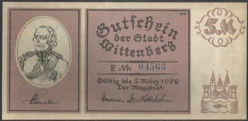 Alemania Wittenberg Notgeld 5 Mark 5 Mar 1922