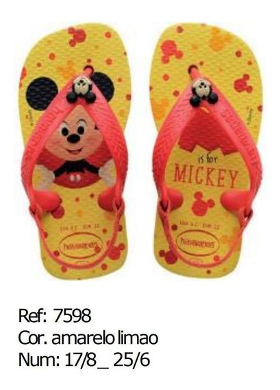 Havaianas Original Kids Baby Disney Clássics Mickey Chinelo
