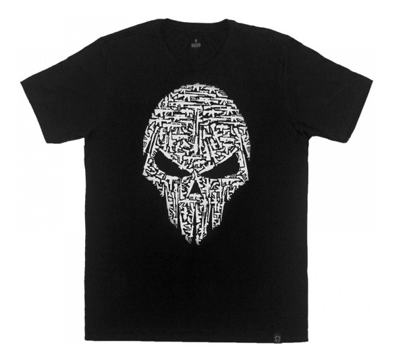 Camiseta Estampada Caveira Armas Preto - Bravo