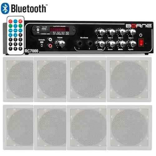 Kit Som Ambiente Borne Rc7000 Usb Fm 8 Arandelas Quadradas