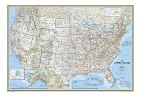Mapa Hd Dos Eua 65x100cm Estados Unidos Usa - Decorar Sala