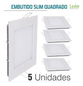 Kit 5 Plafon Embutir Quadrado 18w Luz Branca - Ledo