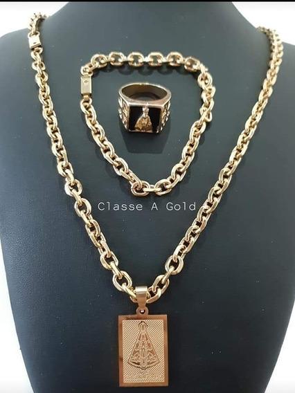 Cartier Banhada A Ouro + Pingente De Santa + Pulseira + Anel