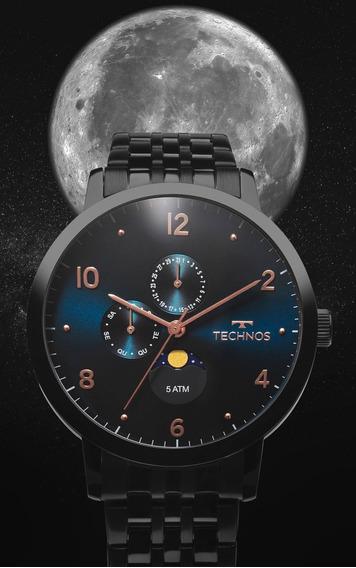Relógio Technos Masculino Calendário Lunar 6p21aa/4p