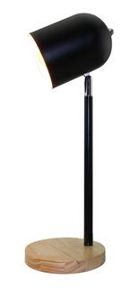 Lámpara De Mesa Bartolo E27 Bulbo Led Blanco Negro Deco