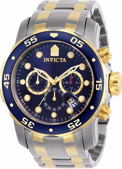 Relógio Invicta Pro Diver 0077 Misto Aço E Ouro 2018 Top